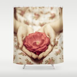 Rose in her hands II Shower Curtain