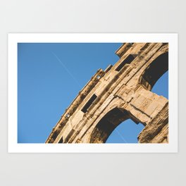 Coliseum in Pula with Plane Art Print