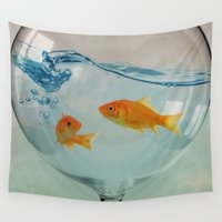 glass Wall Tapestries featuring Goldfish glass by Vin Zzep