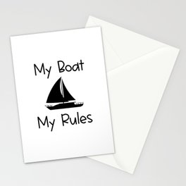 My Boat My Rules Lake and Ocean Travel Stationery Cards