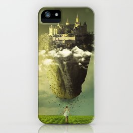 Fascinating Beautiful Levitating Flying Fantasy Castle Island Sun Moon Meadow Ultra HD iPhone Case