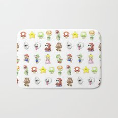 Mario Characters Watercolor Geek Gaming Videogame Bath Mat