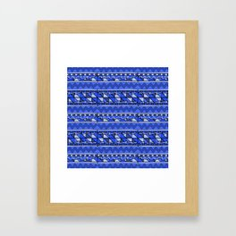 Latin American Pattern Blue. Zigzag Squares Triangle Patterns. Mexican Art. Funky Framed Art Print