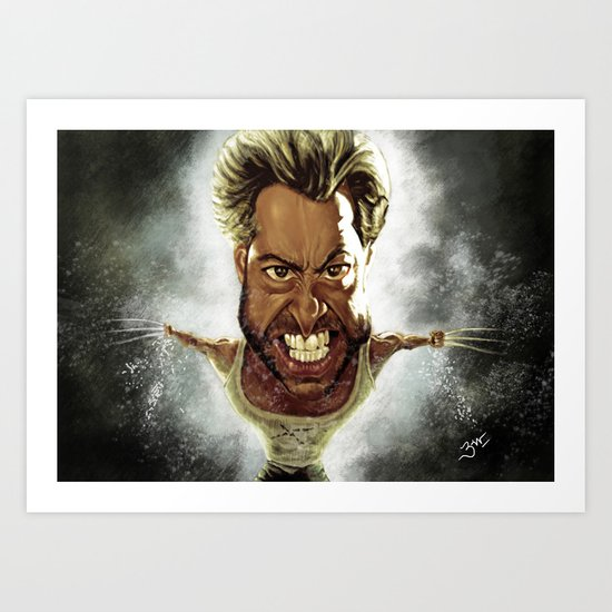 Wolverine Caricature Art Print