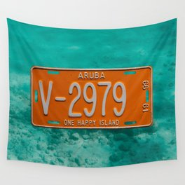 1999 Aruba License Plate One Happy Island Tag Wall Tapestry