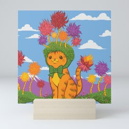 Orange Cat Wears Fluffy Tree Hat Mini Art Print