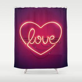 Love Heart Neon Sign Shower Curtain