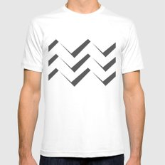 Geometric abstract - zigzag gray and white. Mens Fitted Tee White MEDIUM
