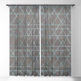 Teal Turquoise Geometric Modern Pattern Trendy Black Marble Sheer Curtain