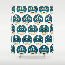 Captian A Emoji Shower Curtain