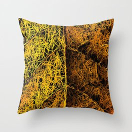 rotten yellow leaf texture Throw Pillow