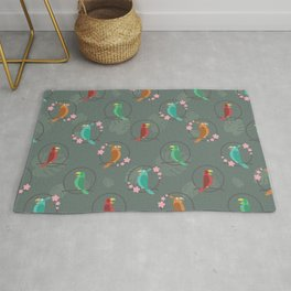 Tiki Birds Dark Rug