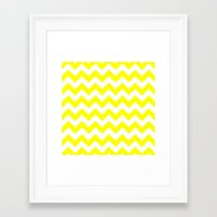 chevron Framed Art Prints featuring Chevron (Yellow/White) by 10813 Apparel