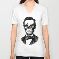 lincoln V-neck T-shirts featuring Lincoln Skull by BIOWORKZ