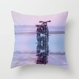 Where the Journey  begins Motorcycle at the Water Sunset Throw Pillow