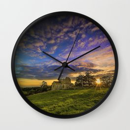 Mountain Church at Sunset Wall Clock