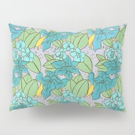 Blue Lilies and Orchids Pillow Sham