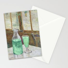 Drinking Absinthe Aperitifs in a Paris Cafe with Vincent still life portrait by Vincent van Gogh Stationery Cards