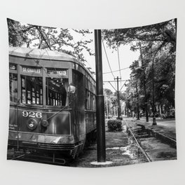 New Orleans Streetcar on a Rainy Day Wall Tapestry