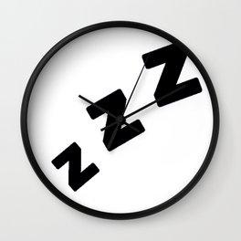 Zzzs in Black Wall Clock
