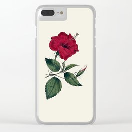 Vintage ivory white red green botanical flower Clear iPhone Case