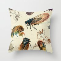 summer Throw Pillows featuring summer cicadas by Teagan White