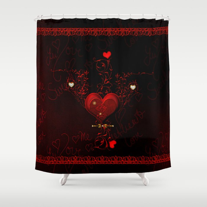 Beautiful Hearts With Floral Elements Valentines Day Shower Curtain