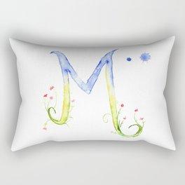 Letter M watercolor - Watercolor Monogram - Watercolor typography - Floral lettering Rectangular Pillow