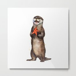 Otterly Delighted Otter Metal Print