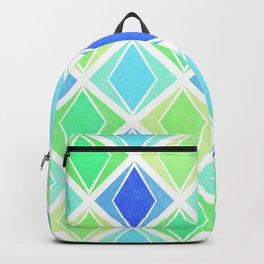 Layered Diamonds Geometric Pattern - Blue & Green Backpack