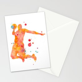 Basketball Player Watercolor Painting 2 Stationery Cards