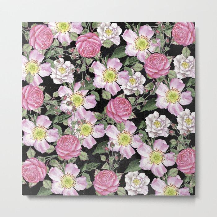 Vintage Rose Pattern Pink On Chalkboard Metal Print