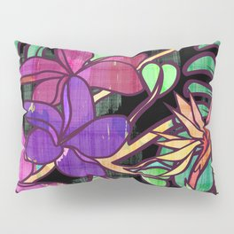 Tropical leaves and flowers, jungle print Pillow Sham