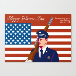 American Veterans Day Greeting Card Retro Canvas Print