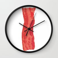 bacon Wall Clocks featuring Bacon! by Katerdoo