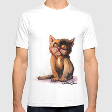 Gimme' Kitty White MEDIUM Mens Fitted Tee