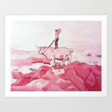 Pink Cowboy Fantasy Art Print