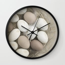 Sketch of eggs in a nest Wall Clock