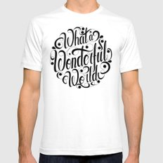 What a Wonderful World SMALL White Mens Fitted Tee