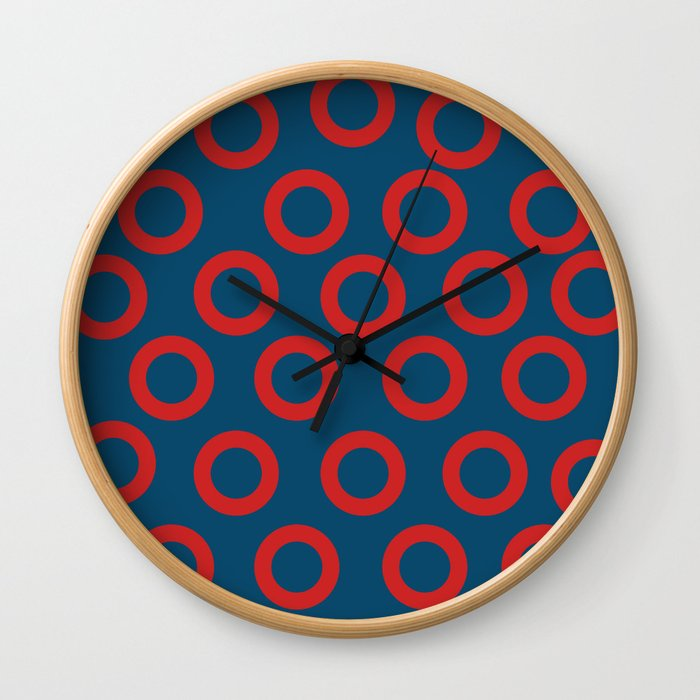 Fishman Donuts Red and Blue Wall Clock