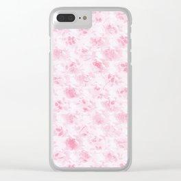 Vintage blush pink white elegant roses floral Clear iPhone Case