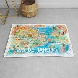 Rio de Janeiro Illustrated Map with Main Roads Landmarks and Highlights Rug