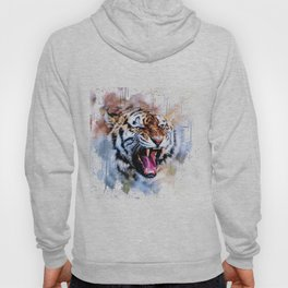 Snarling Wild Tiger with Paint Drips Hoody
