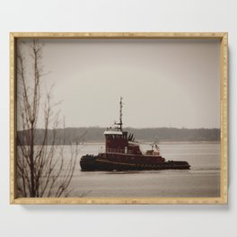 Tugboat on the Delaware Serving Tray