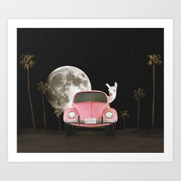 Midnight Adventure Llama Art Print