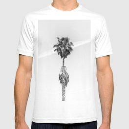 Malibu Beach Palm // Black and White California Beach Vibes Jetstream Sky Photograph T-shirt