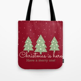Red Merry Christmas Tree Tote Bag