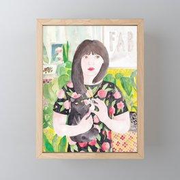 Girl with cat & plants Framed Mini Art Print