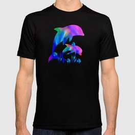 Rainbow Dolphins swimming in the sea T-shirt
