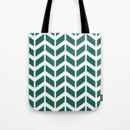 Teal green and white chevron pattern Tote Bag